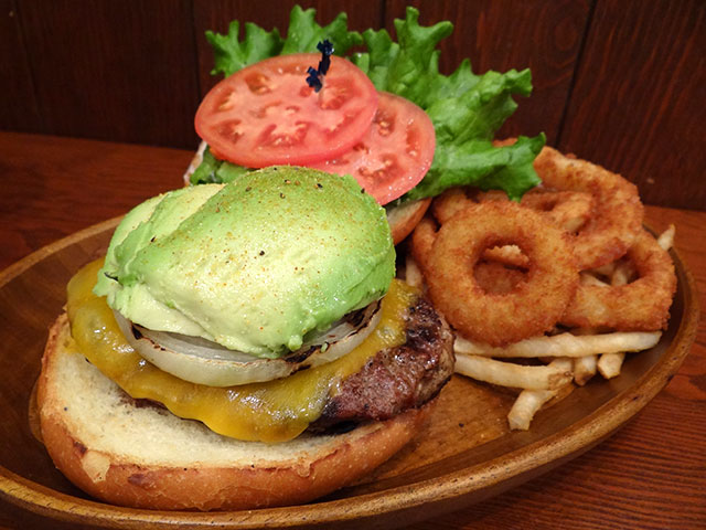 Avocado Cheese Burger with Onion Rings and Friench Fries