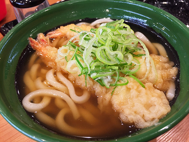 Udon Noodles with Shrimp Tempura