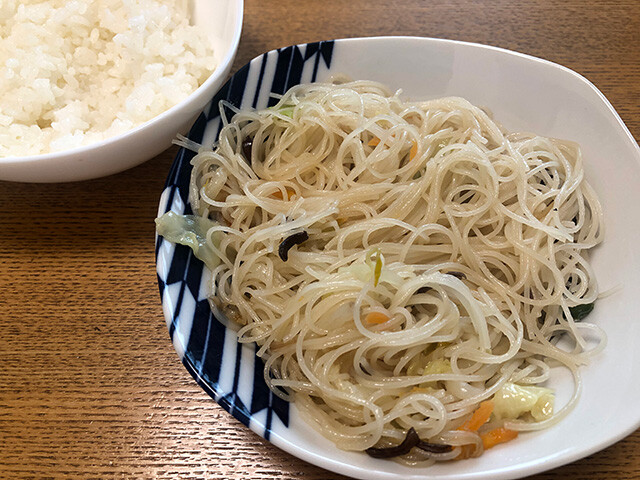 Fried Rice Noodles with Rice