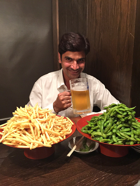 Dr. Manda with French Fries and Boiled Soybeans