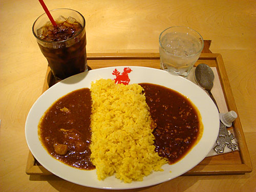 Half and Half Curry with Iced Coffee
