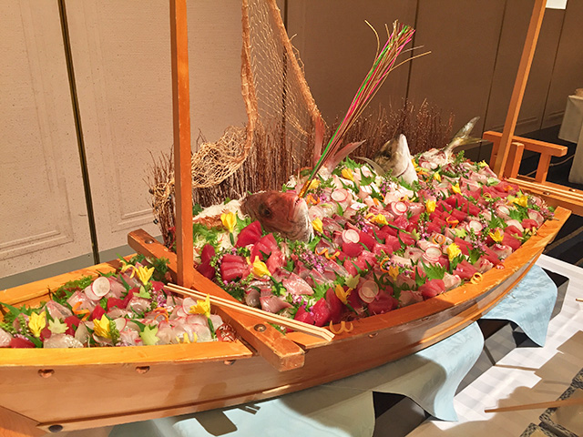 Assorted Sashimi on a Boat-like Plate