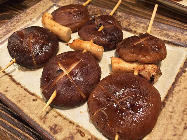 Grilled Skewered Shiitake Mushroom