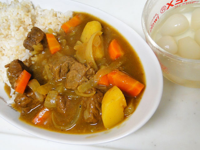 Homemade Low Fat Beef Curry with Pickled Shallots