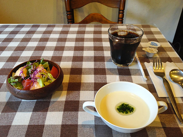 Soup, Salad, and Iced Coffee