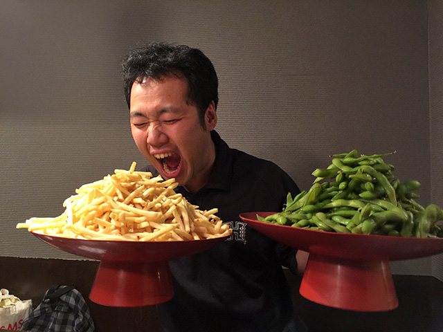 Dr. frontierflat with French Fries and Boiled Soybeans