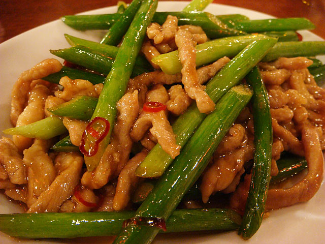 Shredded Pork Sauteed with Garlic Shoots