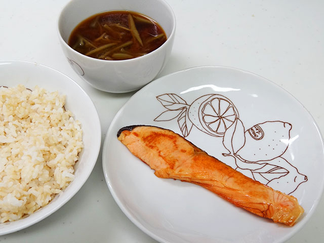 Salmon, Water Shield, and Sprouted Brown Rice