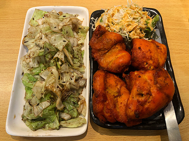 Chicken Tikka and Sauteed Cabbage with Cummin
