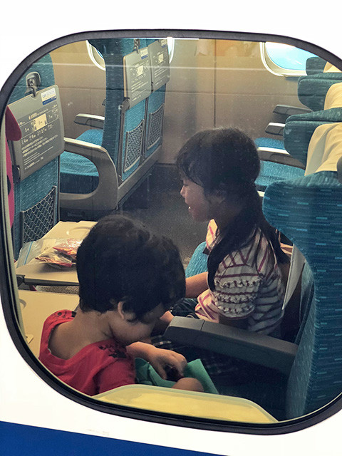 My daughter and son in Shinkansen