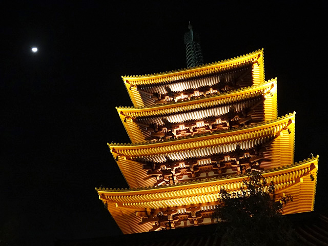 Five-Storied Pagoda and Moon