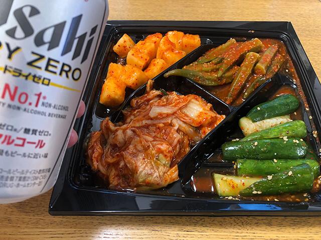 Assorted Kimchi and Asahi DRY ZERO
