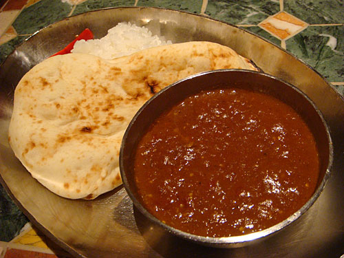 Beef Curry with Rice and Naan
