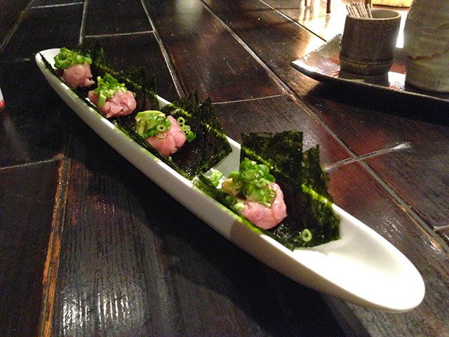 Minced Tuna and Avocado rolled by Korean Seaweed