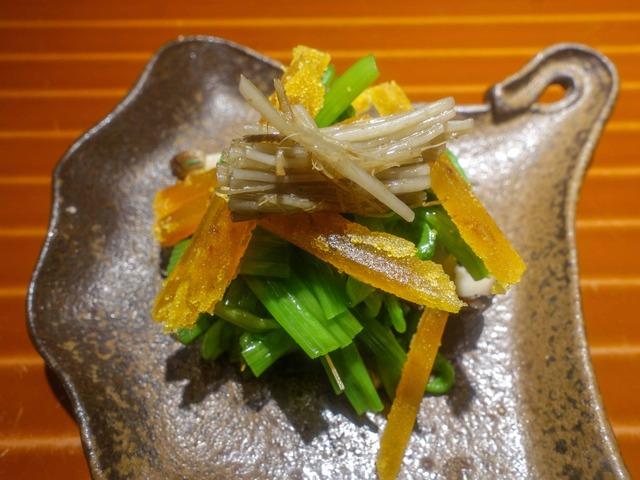 セリのおひたし,焼き椎茸,自家製カラスミ 3_edit