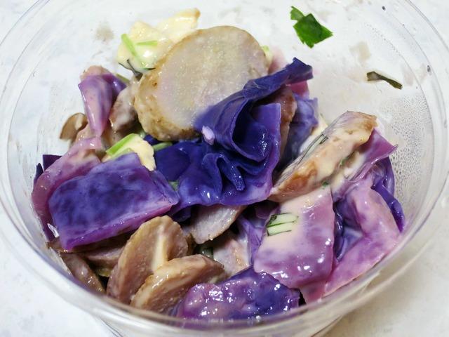 ゴボウと紫キャベツ,富士美鶏のサラダ_edit