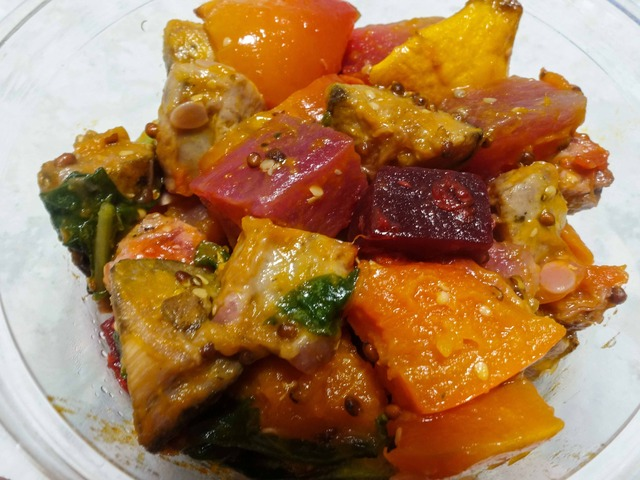 ロースト野菜のルッコラ,ハニーマスタード和え 4_edit