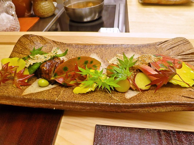松茸の牛肉巻きとカマスの炭火焼き 1_edit