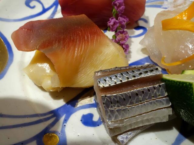 お造り(鰹,マコガレイ,コハダ,ホッキ貝の炙り焼き) 4_edit