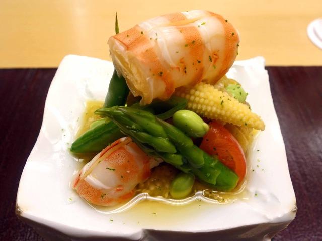 徳島産天然車海老と夏野菜の和え物 1_edit
