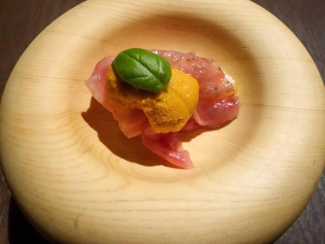 牛サーロイン,桃,ウニ,バジル 1_edit