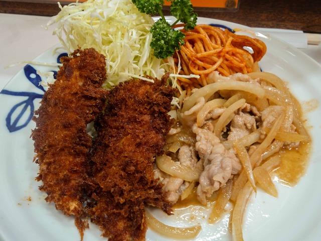 ヒラメフライ&豚しょうが焼 1_edit
