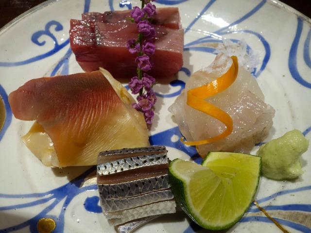 お造り(鰹,マコガレイ,コハダ,ホッキ貝の炙り焼き) 6_edit