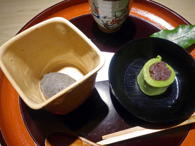 甘味_黒ゴマアイス,抹茶の袱紗巻き_edit