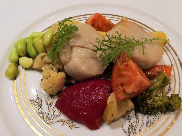季節野菜のエチュベ,ホタテのマリネを添えて 1_edit