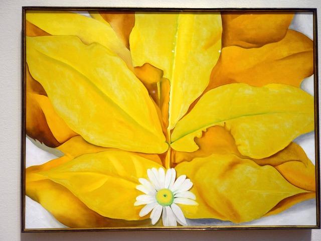 オキーフ 『黄色い葉とデイジー』 2_edit
