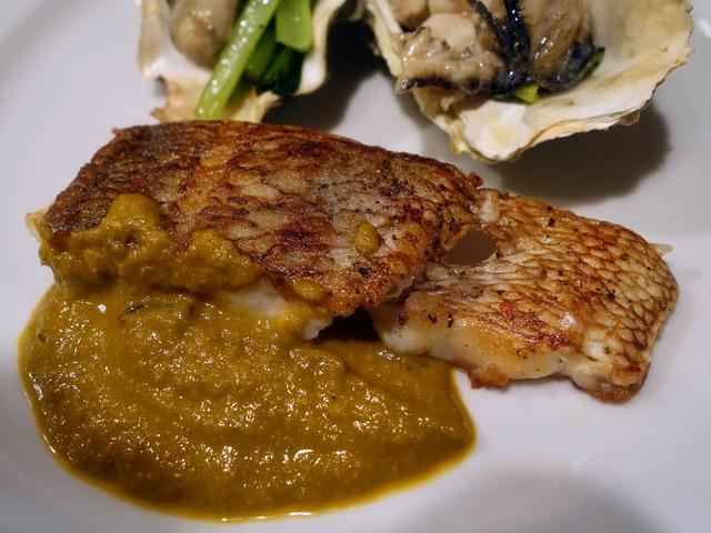 真鯛のムニャイア,牡蠣のコンフィとピュレを添えて 2_edit