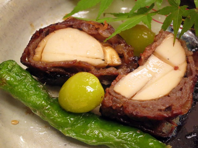 松茸の牛肉巻きとカマスの炭火焼き 10_edit