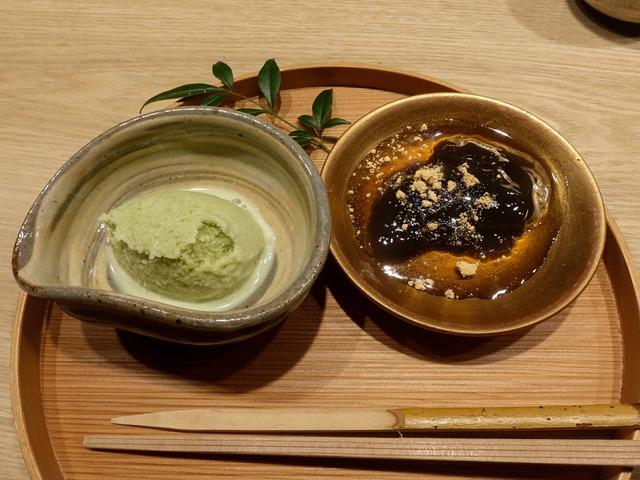 甘味(抹茶のシャーベット,自家製わらび餅)_edit
