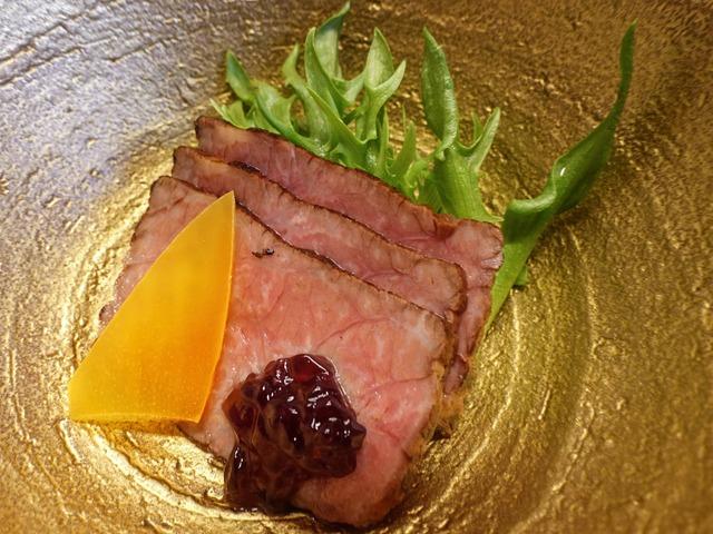 牛肉の炙り焼き,赤ワインのジュレがけ 3_edit