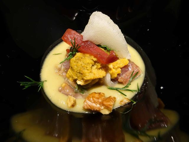 秋刀魚のマリネ,ナスのヴルーテ,ウニ,赤玉ねぎのピクルス 3_edit