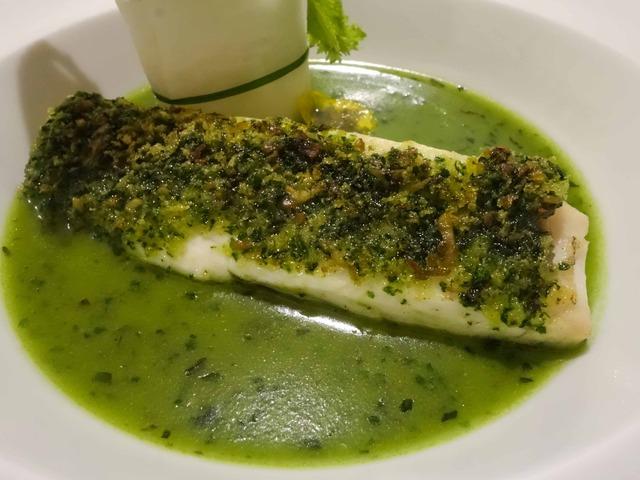 緑の衣をまとった真鯛の香草風味,野菜のアレンジメント添え 5_edit