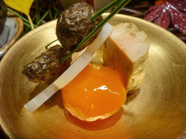 八寸(ムカゴ,レンコン,卵黄の味噌漬け,アンキモ) 2_edit