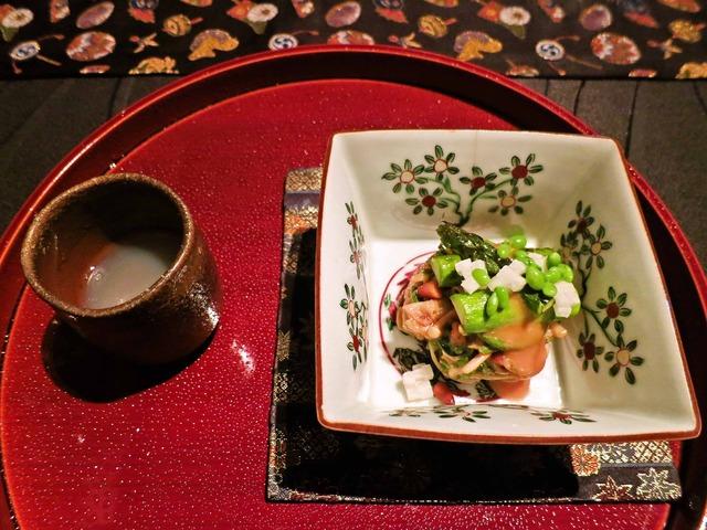 季節野菜の松の実和え,蛤の桜流し 1_edit