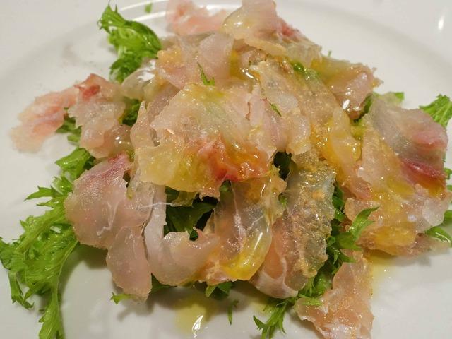 オマール海老の塩で〆た鯛のカルパッチョ 3_edit