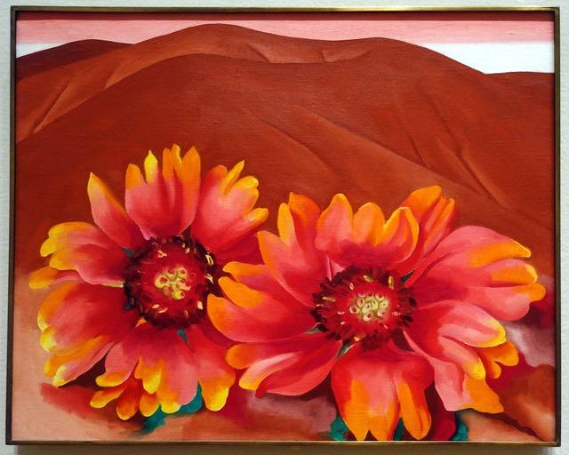 オキーフ 『Red Hills with Flowers』_edit