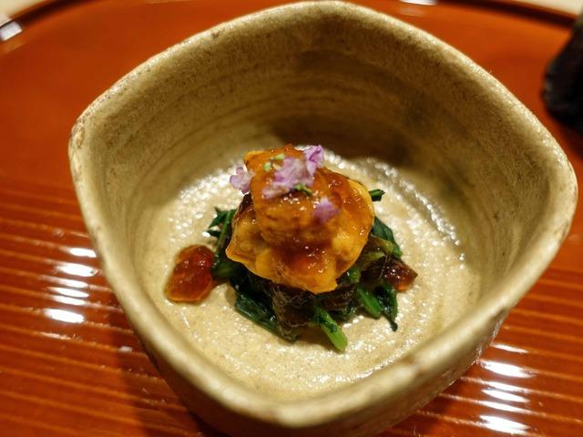 ウニ,金柑,小松菜の自家製明太子和え 3_edit