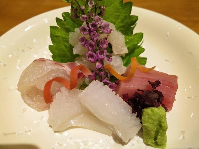 お造り(鱧の焼霜,鯛,剣先いか,よこわ) 1_edit