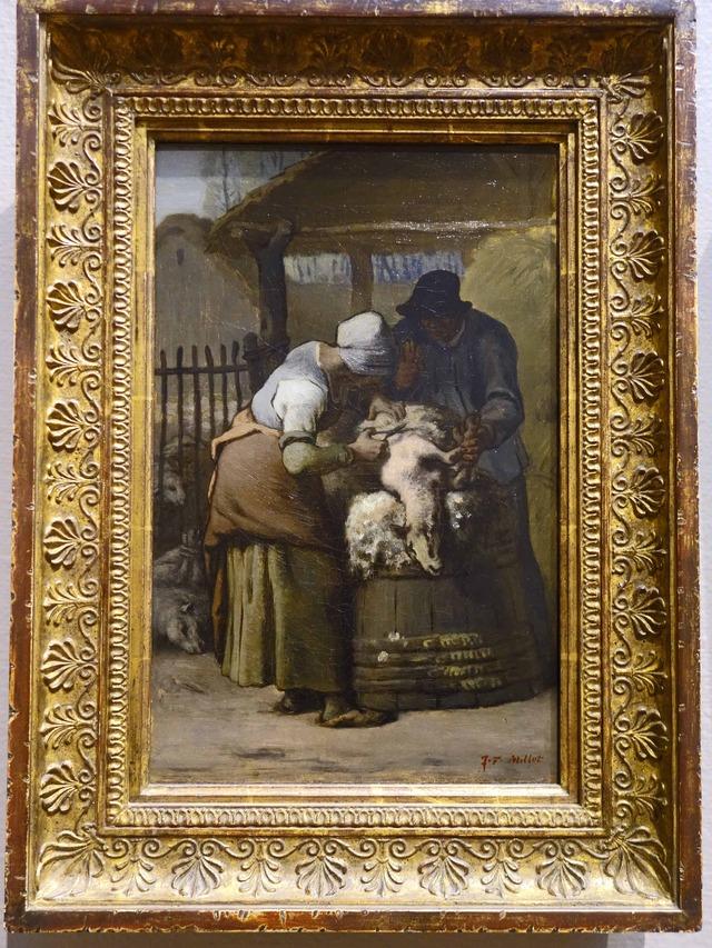ミレー 『羊の毛を刈る女』_edit