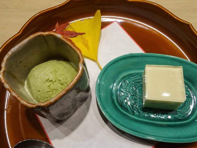 甘味(抹茶のシャーベット,柚子のチーズケーキ)_edit