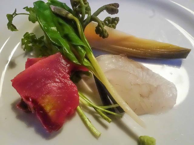 鰹とマコガレイの刺身,春の山菜 3_edit