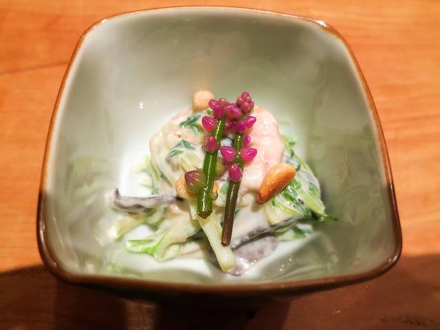 水菜と川津えびの白和え ツルムラサキの花添え 1_edit