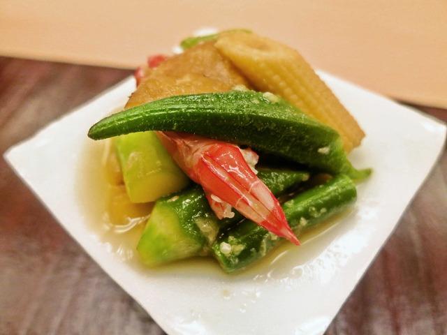 徳島産天然車海老と夏野菜のおひたし 5_edit