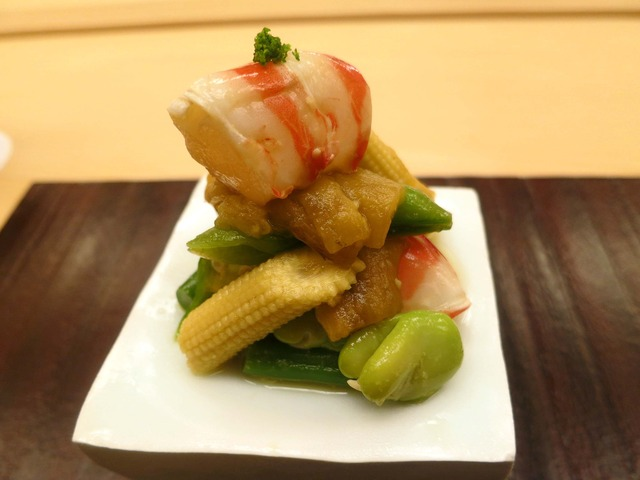 徳島産天然車海老と夏野菜のおひたし 1_edit