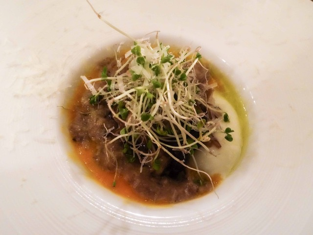 野生エノキの温製,半熟卵,舞茸とイタリア米のソース 1_edit 2