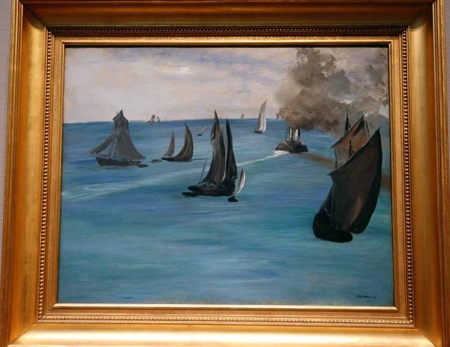 マネ 『ブローニュを離れる蒸気船』 2_edit